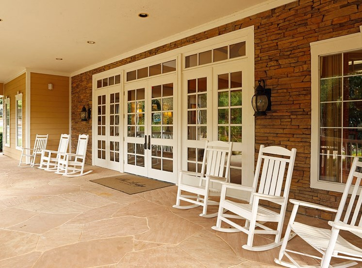 The Lodge at Crossroads apartments leasing center entrance in Cary, North Carolina