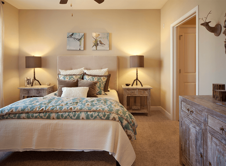 Perry Point model suite bedroom in Raleigh, North Carolina