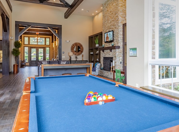 Perry Point apartments clubhouse billiards in Raleigh, North Carolina