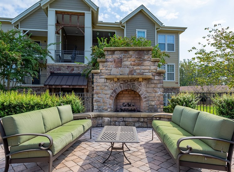 Perry Point apartments outdoor fireplace in Raleigh, North Carolina