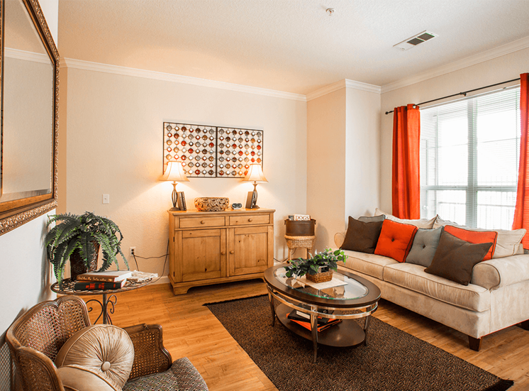 Retreat at City Center model suite living area in Aurora, Colorado