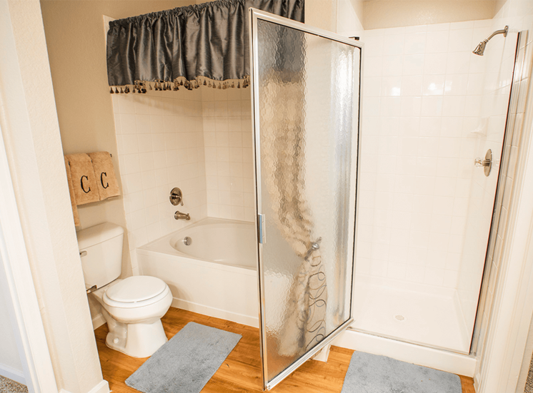 Retreat at City Center model suite bathroom in Aurora, Colorado