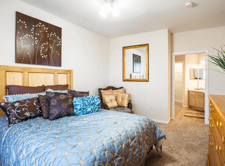 Retreat at City Center model suite bedroom in Aurora, Colorado