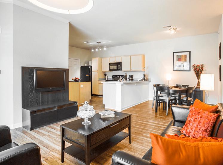 Settlers' Creek model suite living area in Fort Collins, Colorado