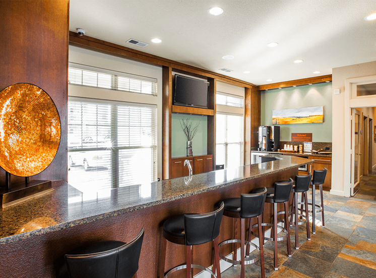 Settlers' Creek apartments clubhouse kitchen in Fort Collins, Colorado