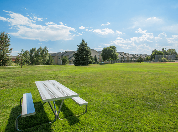 Settlers' Creek apartments adjacent park in Fort Collins, Colorado