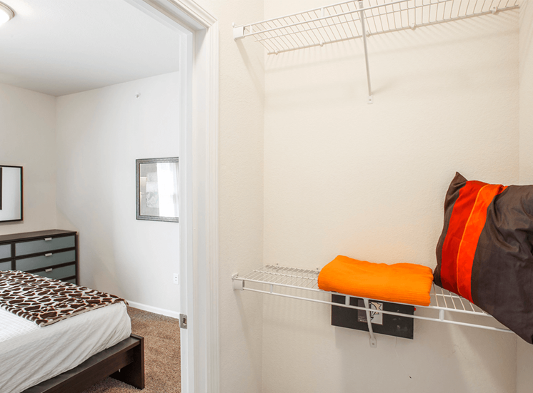 Settlers' Creek model suite closet in Fort Collins, Colorado