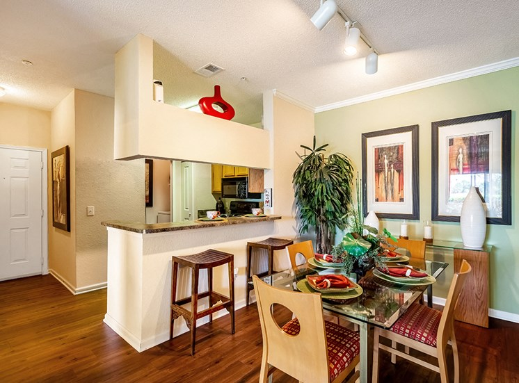 Mallory Square model suite dining area in Tampa, Florida