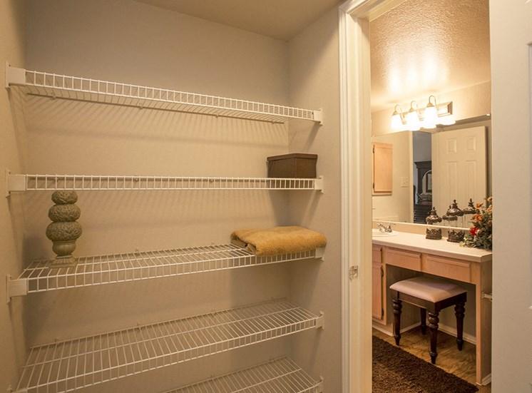 Retreat at Spring Park model suite closet in Garland, TX