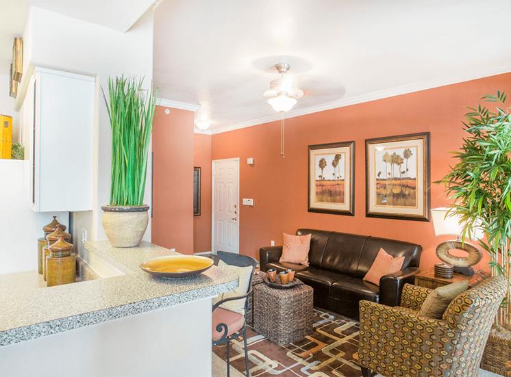 Grand Venetian model suite living area in Irving, Texas