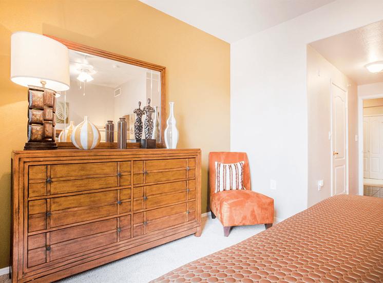 Grand Venetian model suite bedroom in Irving, Texas