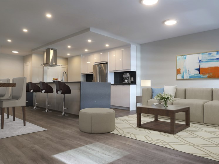 Open Concept Kitchen, Dining, and Living Room