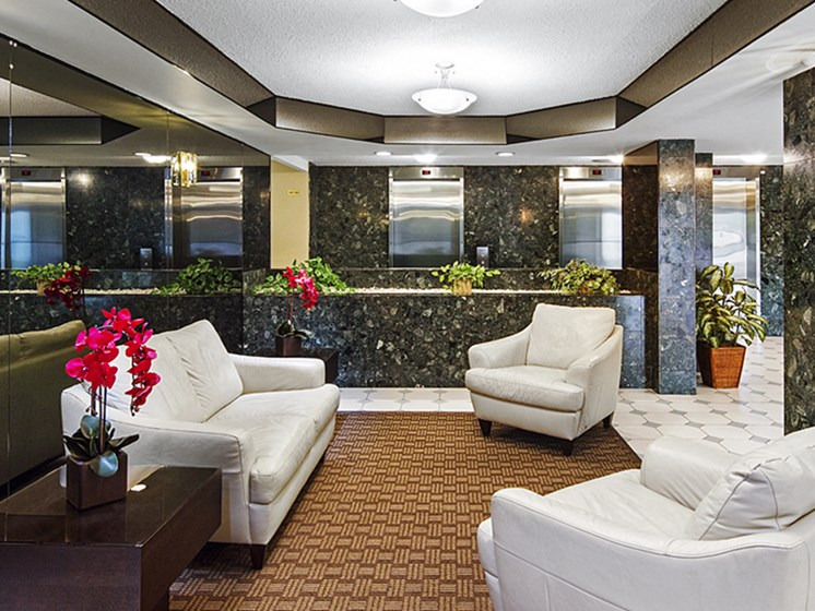 Apartment Lobby With White Couches