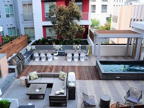 birds eye outdoor resident pool and lounge area