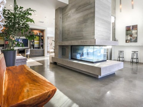 interior resident lobby and electric fireplace