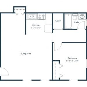 Claremont Apartments | One Bedroom Floor Plan