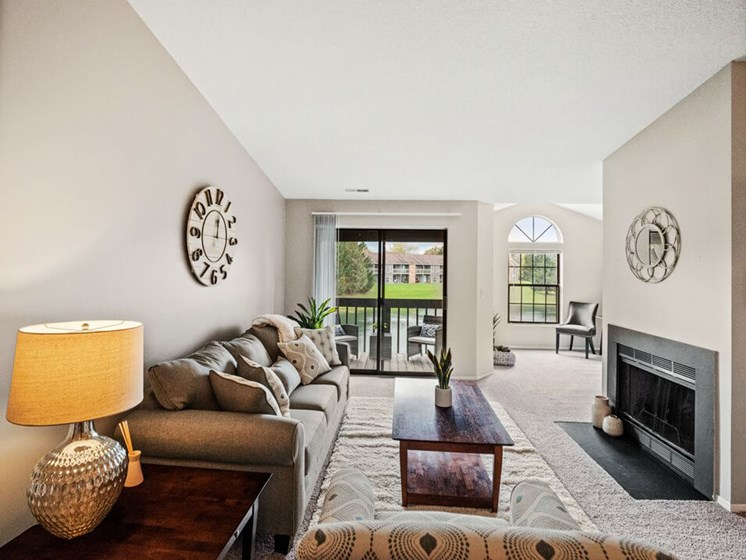 Living room at Lancaster Lakes Apartments