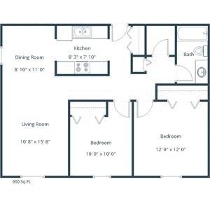 Columbia Park Village Apartments | Two Bedroom Floor Plan