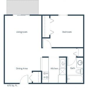 Deer Park Apartments   One Bedroom Floor Plan A