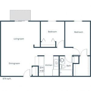 Deer Park Apartments   Two Bedroom Floor Plan C