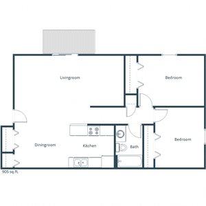 Deer Park Apartments   Two Bedroom Floor Plan D