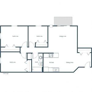 Deer Park Apartments   Three Bedroom Floor Plan