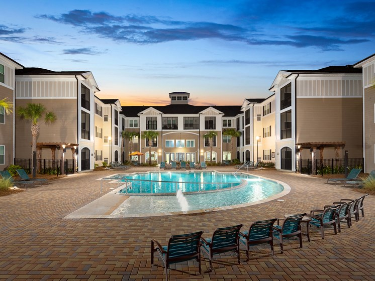 Blue Cool Swimming Pool at Abberly Crossing Apartment Homes by HHHunt, Ladson, South Carolina