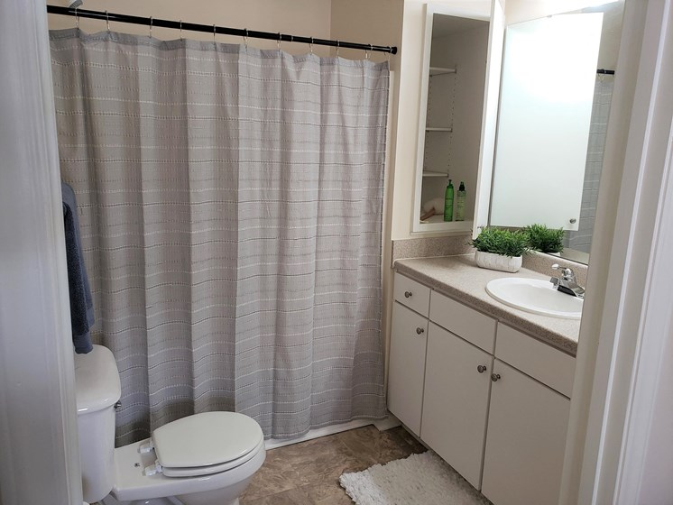 Bathroom with Storage at Abberly Grove Apartment Homes by HHHunt, Raleigh, 27610