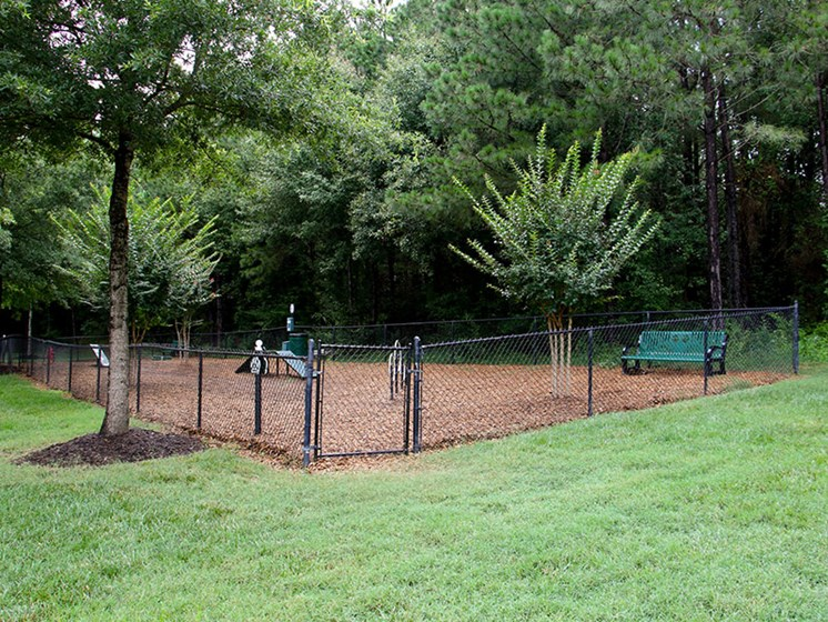 Mature trees and grass areas create a relaxing atmosphere at Abberly Grove Apartment Homes by HHHunt, North Carolina