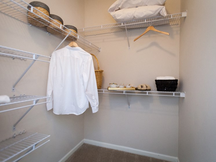 Over-sized Linen closets at Abberly Grove Apartment Homes by HHHunt, Raleigh, NC