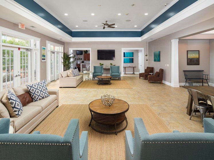 Posh Lounge Area In Clubhouse at Abberly Pointe Apartment Homes by HHHunt, South Carolina, 29935