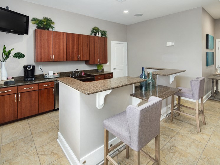 Coffee Bar Counter at Abberly Pointe Apartment Homes by HHHunt, Beaufort, SC