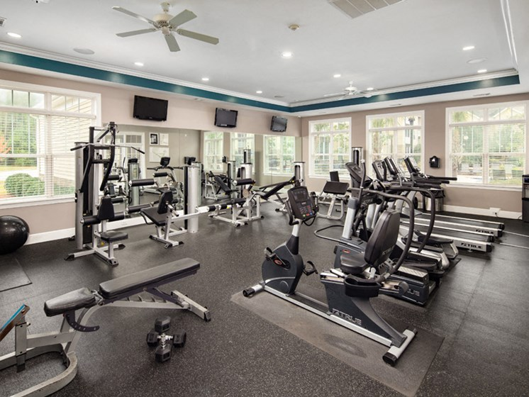 State-of-the-art Fitness Center at Abberly Pointe Apartment Homes by HHHunt, South Carolina
