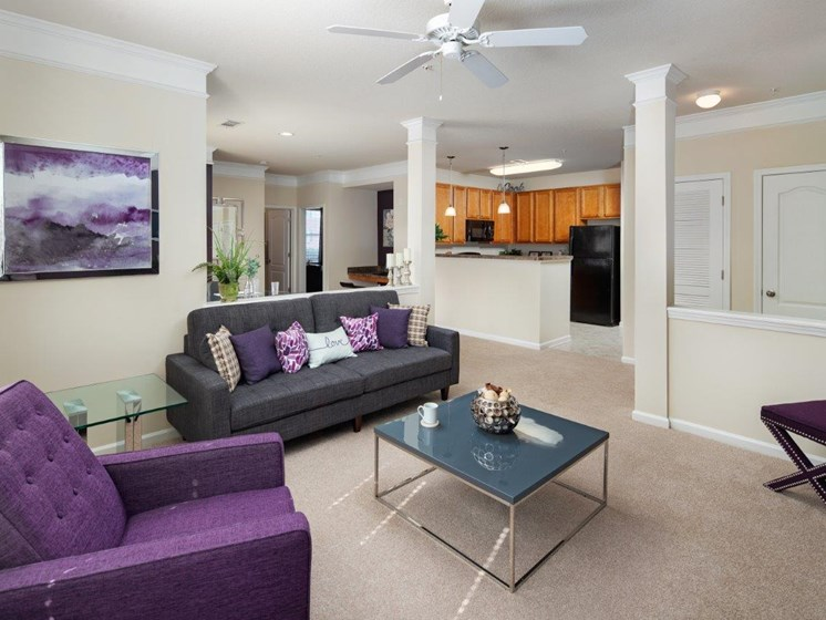 Precious Living Room With Kitchen Viewing at Abberly Village Apartment Homes by HHHunt, South Carolina