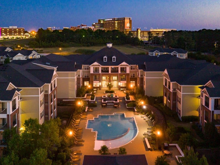 Aerial View Of Community Amenities at Abberly Village Apartment Homes by HHHunt, West Columbia, SC, 29169