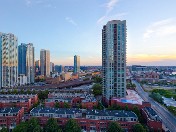 City view at dusk