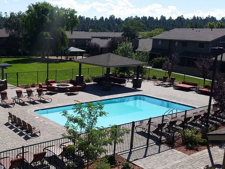 Pool and Landscape at Country Club Meadows Apartments, Flagstaff