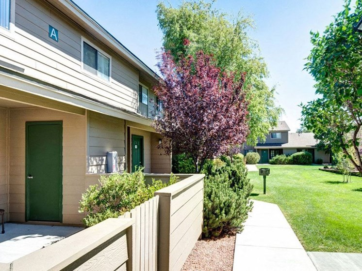 Townhouse Patio and Entry at Country Club Meadows Apartments, Flagstaff, AZ