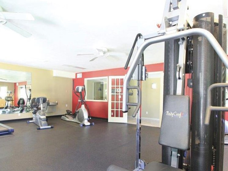 Fitness center at The park at Center Apts