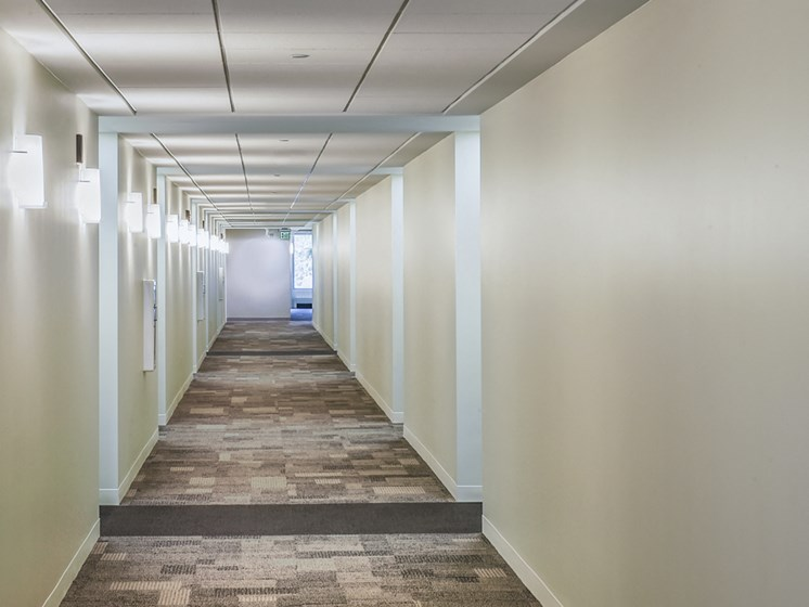 Hallways at Innova Apartments in University Circle neighborhood of Cleveland, OH
