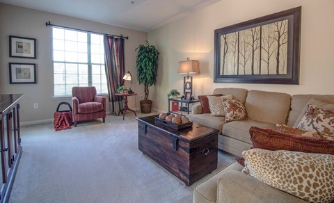 Overlook at Gwinnett Stadium model living area with natural light and space