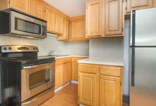 Stainless steel appliances in many units.