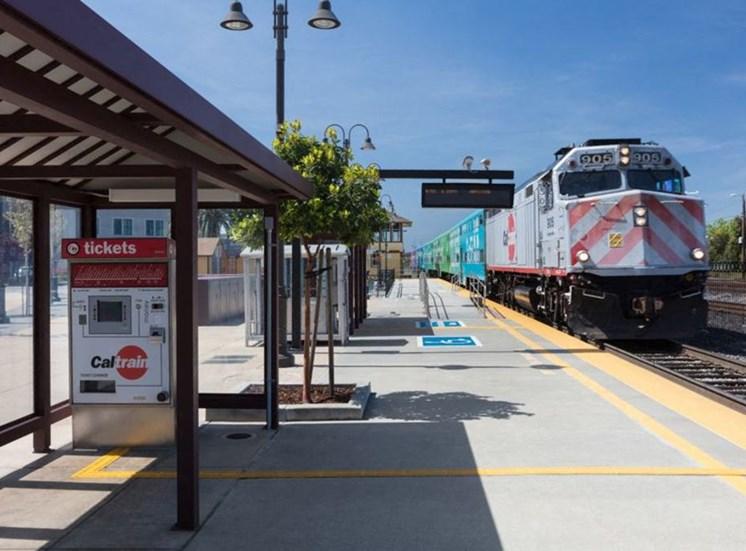 Santa Clara train station with approaching train