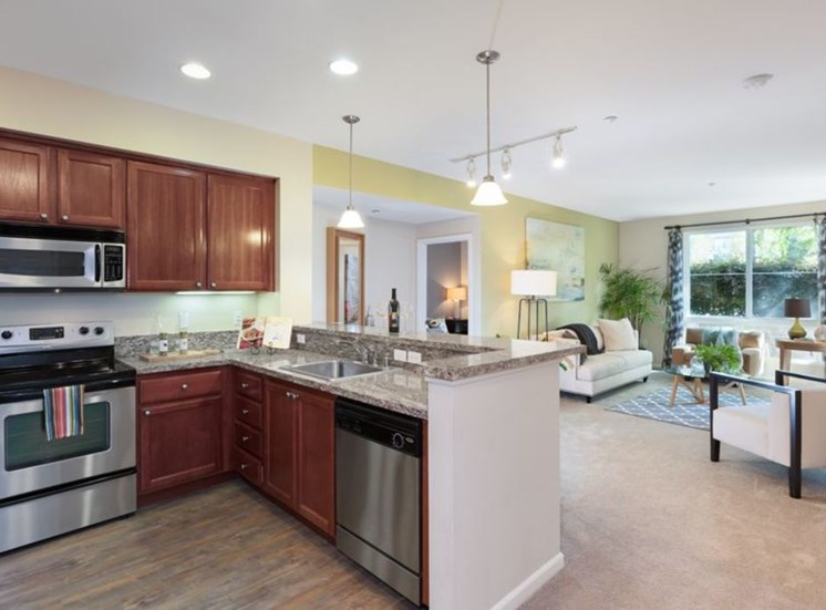 model kitchen and furnished living room