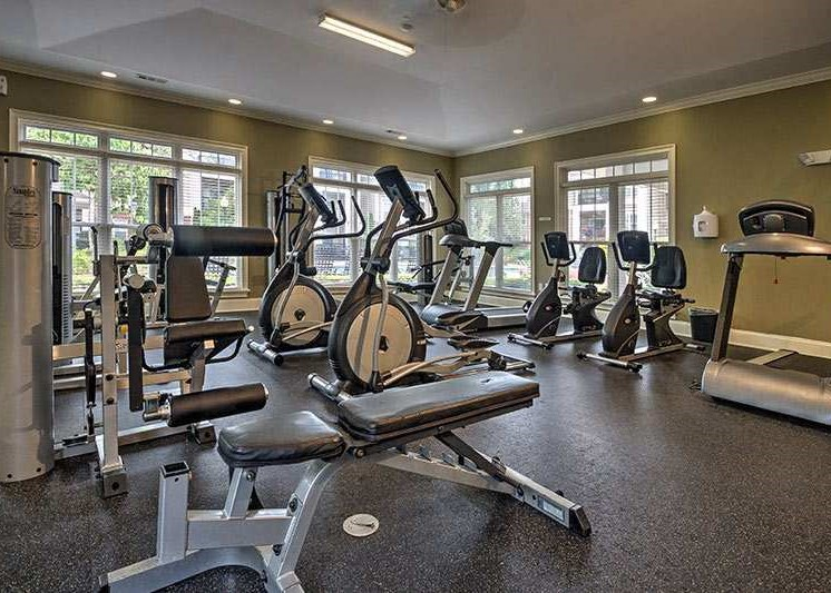 24-hour fitness center at Abberly Woods Apartment Homes by HHHunt, Charlotte, 28216