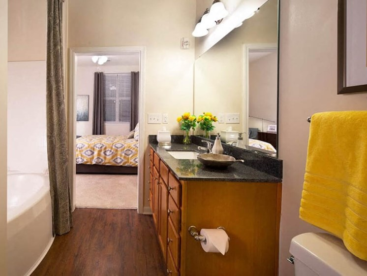 Bathroom With Vanity Lights at Abberly Crest Apartment Homes, HHHunt, Lexington Park, MD, 20653