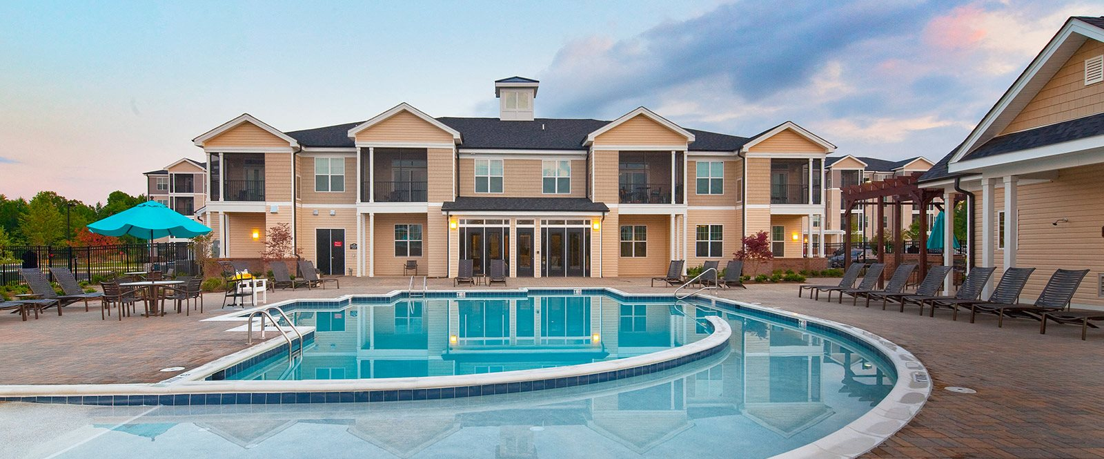 Pool Side Relaxing Area at Abberly Crest Apartment Homes by HHHunt, Lexington Park, MD