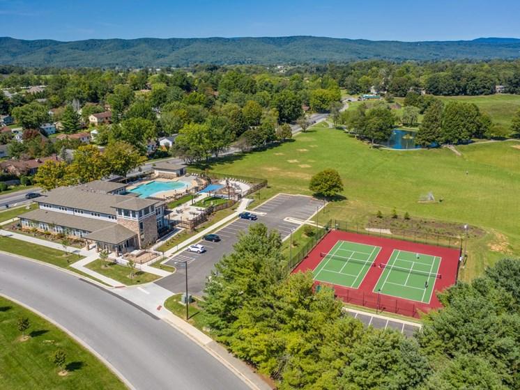Top view of building and tennis courts at Foxridge Apartment Homes, Blacksburg, VA, 24060