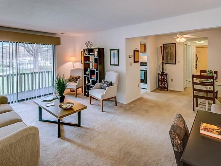 Living room with Contemporary decor at Foxridge Apartment Homes, Virginia