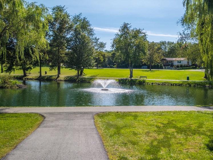 Lake view at Foxridge Apartment Homes, Blacksburg, Virginia
